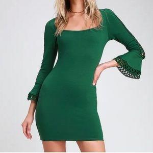 Lulus Charismatic Flounce Sleeve Bodycon Dress
